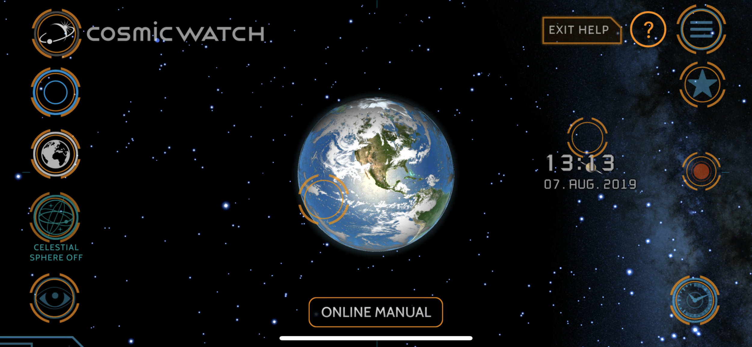 Cosmic Watch's built-in help mode provides hints and tips with a tap on the orange outlined objects