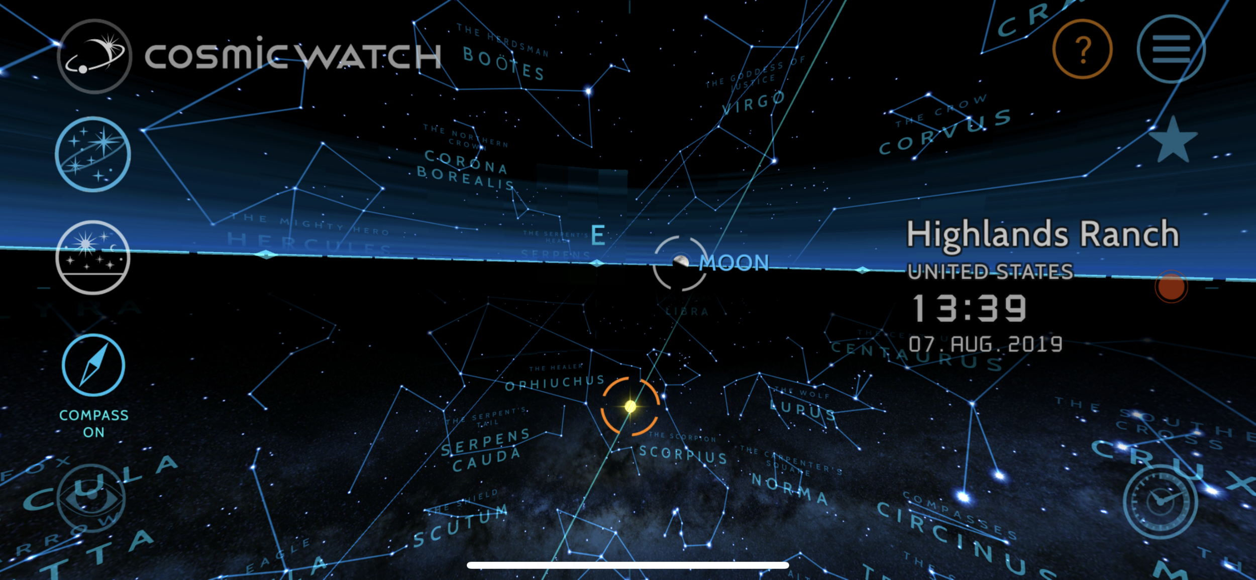 The Sky View mode in Cosmic Watch showing that the moon is rising in Highlands Ranch, CO