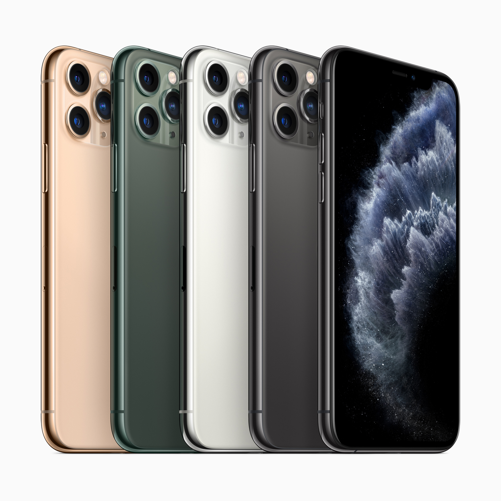 iPhone 11 Pro and iPhone 11 Pro Max come in gorgeous midnight green, space gray, silver and gold finishes. (Image via Apple)