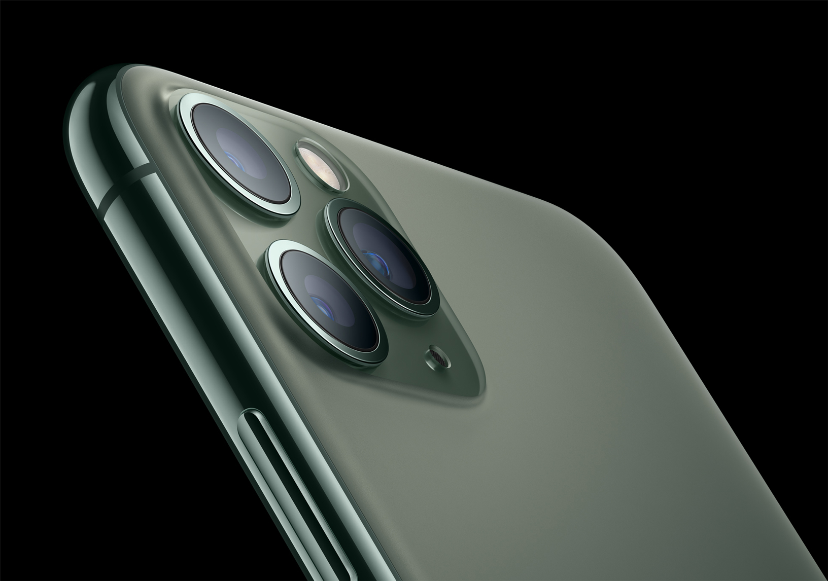 iPhone 11 Pro and iPhone 11 Pro Max have a textured matte glass back and feature the toughest glass ever in a smartphone. (Image via Apple)