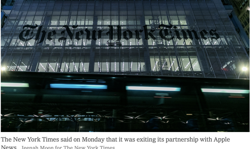 'New York Times' pulls out of Apple News