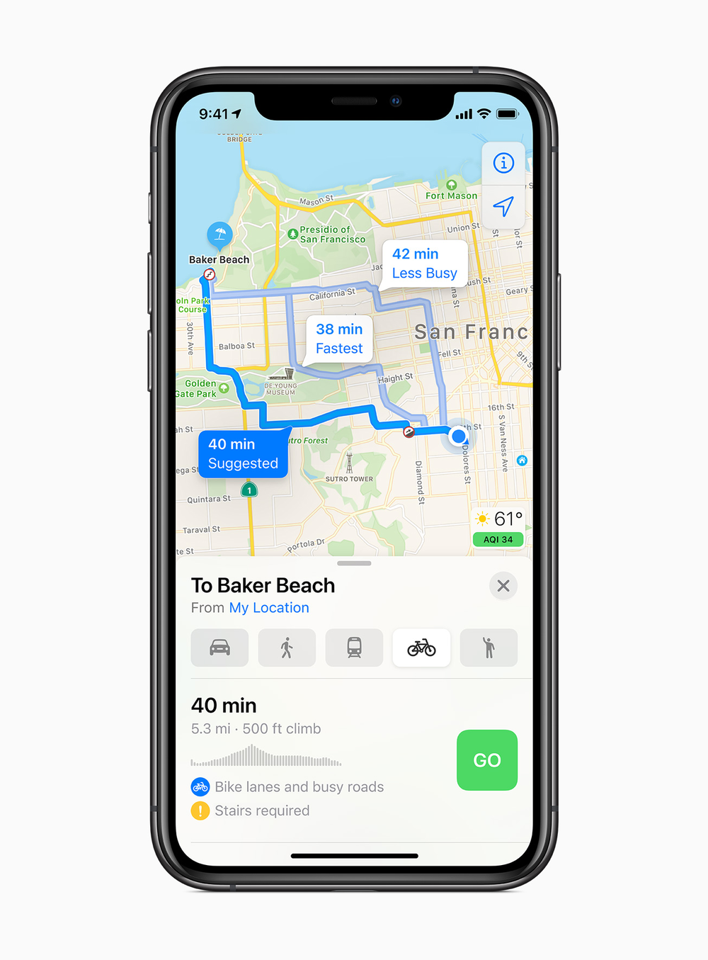 The new cycling directions in iOS 14 Maps app
