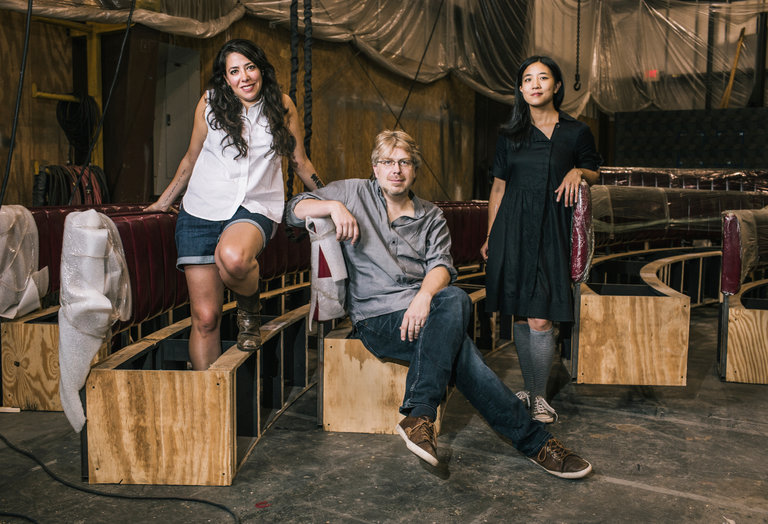 """From left, Rachel Chavkin, Dave Malloy and Mimi Lien of """"Natasha, Pierre and the Great Comet of 1812."""" The production, starring Josh Groban, comes to Broadway in October.    CreditChristopher Gregory for The New York Times"""