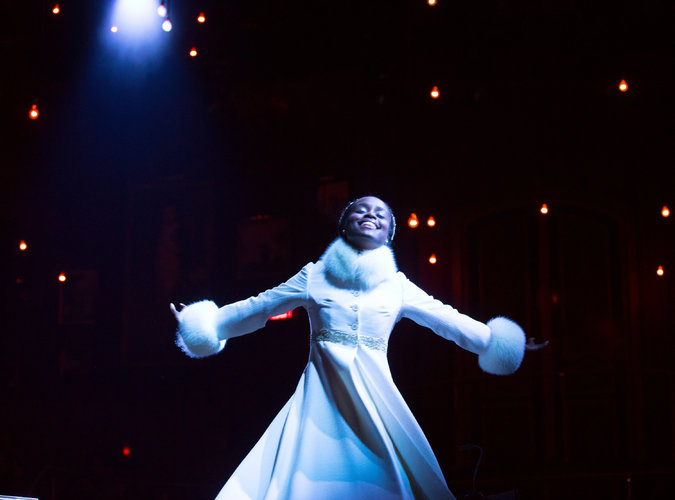 "Denée Benton as the other title character in ""Natasha, Pierre & The Great Comet of 1812.""  CreditSara Krulwich/The New York Times"