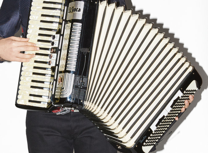 Mr. Groban with the accordion he plays in the show.  Aaron Richter for The New York Times