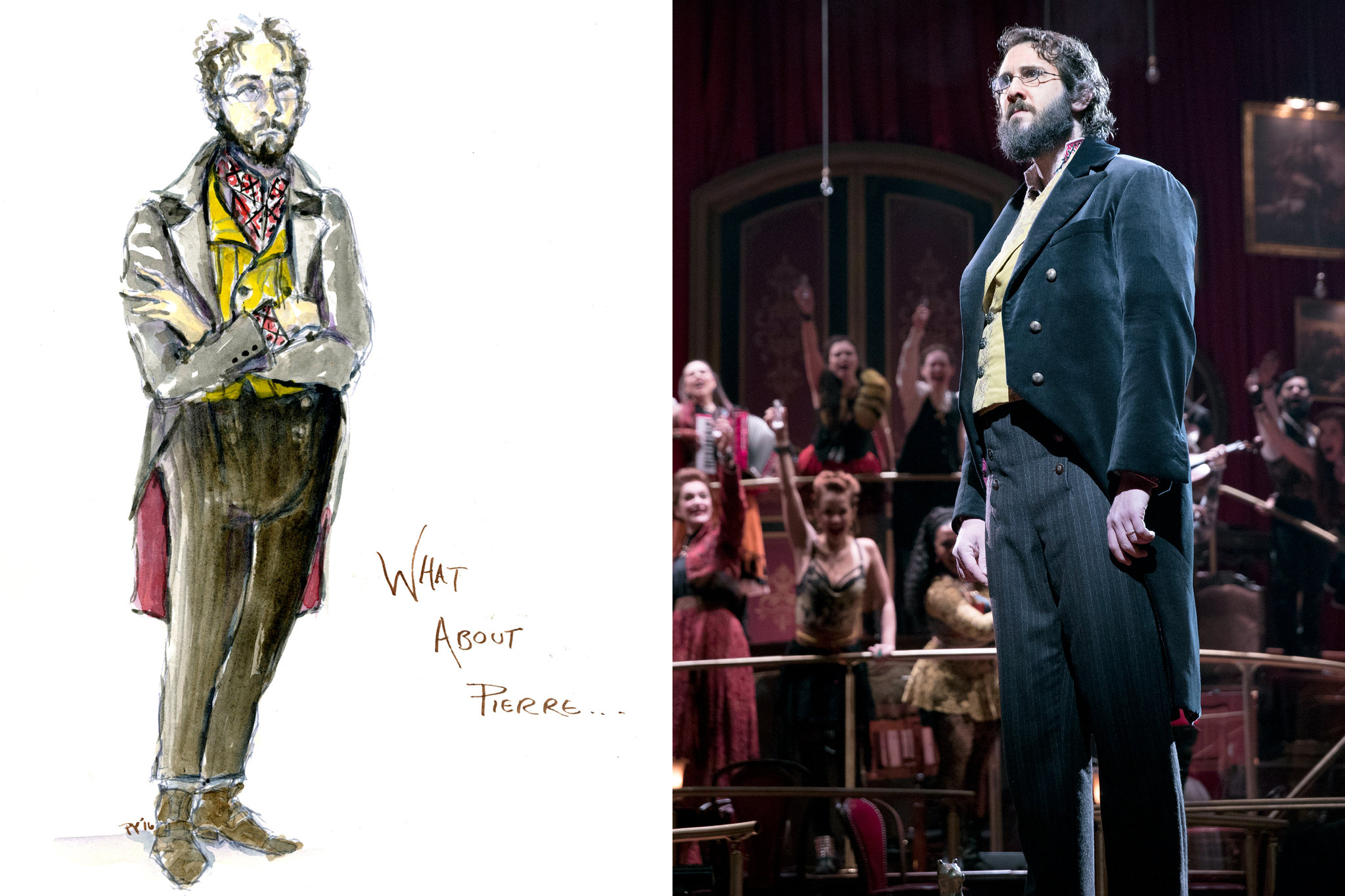 """Left, a sketch by Paloma Young, the costume designer for """"The Great Comet."""" Right, Mr. Groban in costume, which includes substantial padding.  Left, Paloma Young; right, Sara Krulwich/The New York Times"""