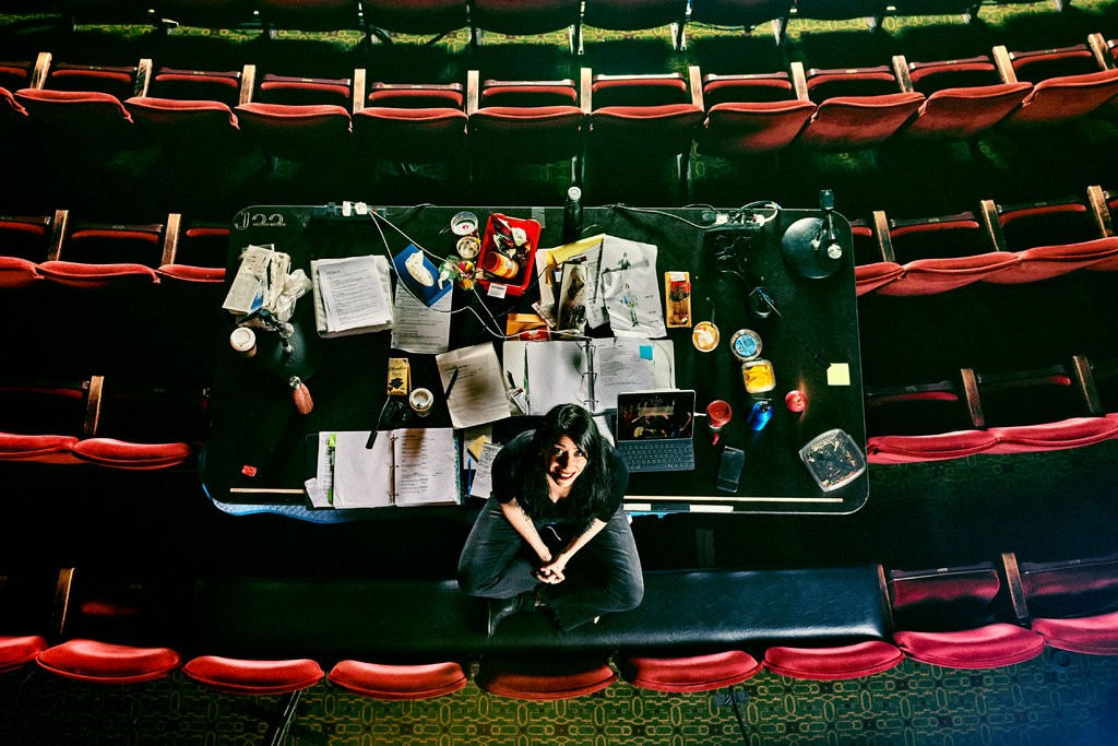 """The director Rachel Chavkin at the Walter Kerr Theater, where """"Hadestown"""" is now in previews.CreditCreditBryan Derballa for The New York Times"""