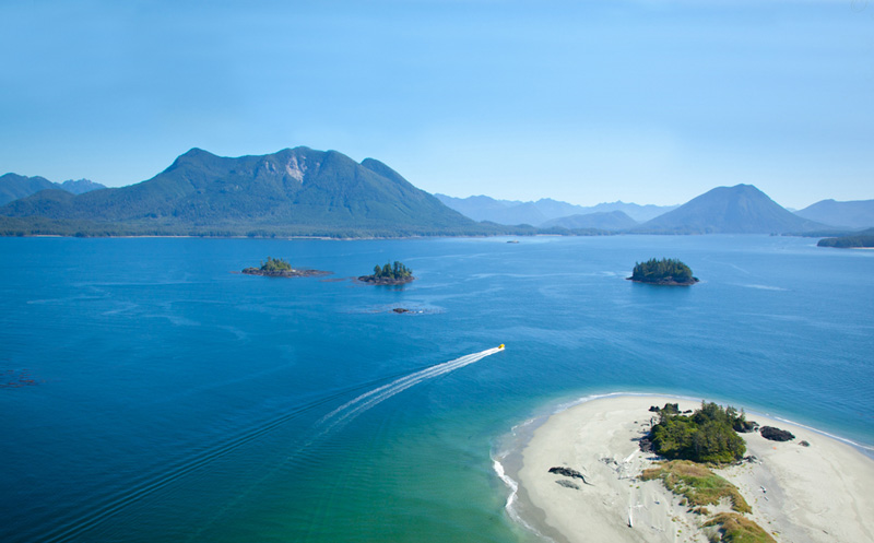 Photo of Clayqouet Sound and Tofino from the air.