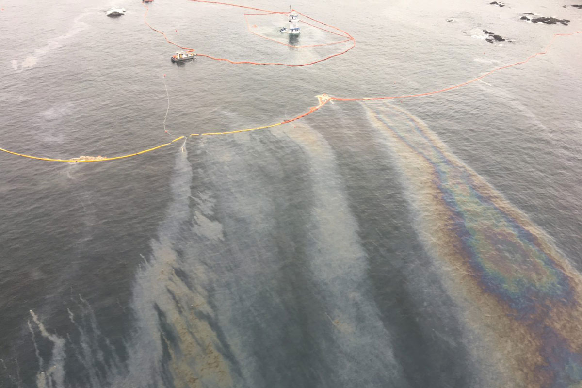 Oil spill cleanup off BC Coast