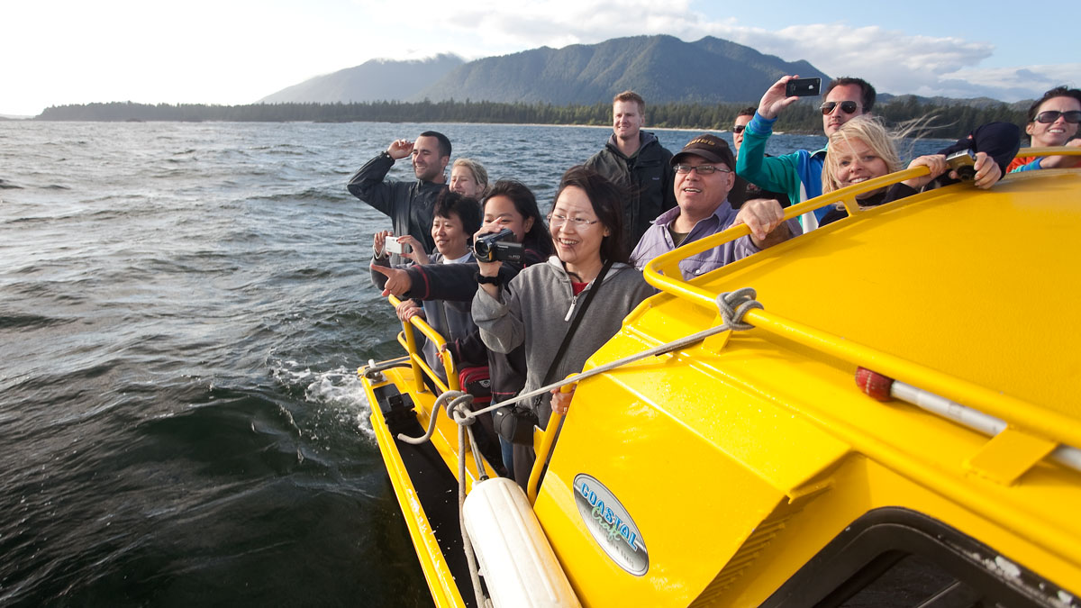 Group of guests on a whale watching tour.