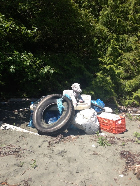 Junk that washed up ashore in Clayoquot Sound.