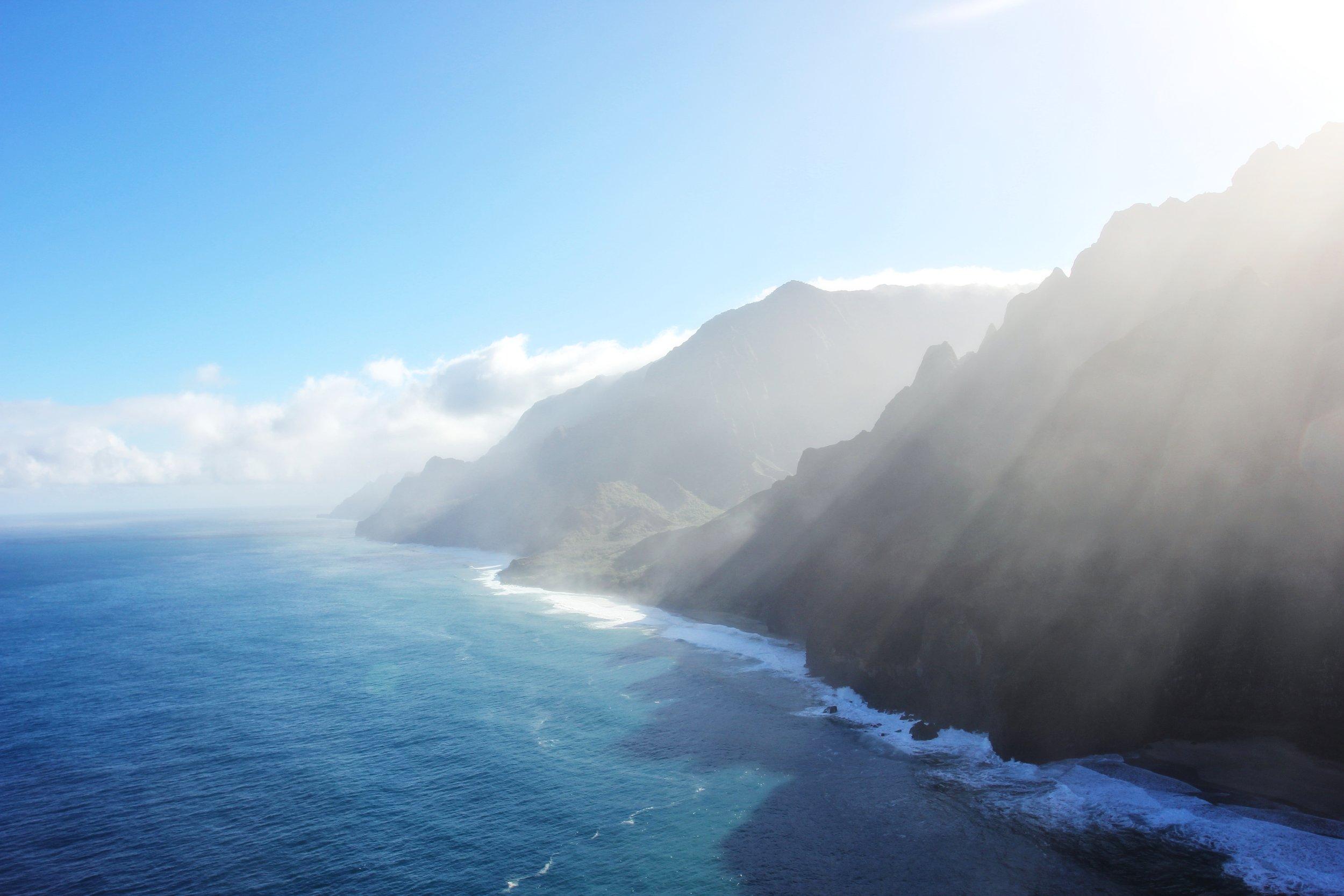 Mid-morning sun over the Nā Pali Coast State Park