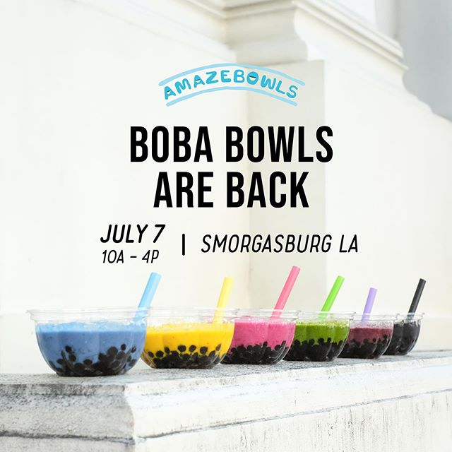 📣📣📣 We are so excited to announce that Boba Bowls will be coming to Smorgasburg Los Angeles on Sunday, July 7th for ONE DAY only!⁣ Boba from @bobaguys will be available to add in all SIX of our bowl bases, and will be topped with your choice of granola and fruit. ⁣ ⁣⁣ Before we decided to make #BobaBowls a reality, we had to make sure that the boba we sourced for our bowls would be top quality. It was important to us that the boba we used was an extension of our mission: creating bowls that are made with the best. That's why we looked to US Boba Co from Boba Guys to provide boba for #BobaBowls. Their boba is made right here in the USA, the first factory of it's kind in America. We are ecstatic to partner with Boba Guys, and also confident knowing we're able to serve our Amazebowler community the best Boba Bowl. ⁣🥣⁣ ⁣ Free entry to Smorgasburg LA from 10am - 4pm. Boba Bowls will be while supplies last! See you July 7th!