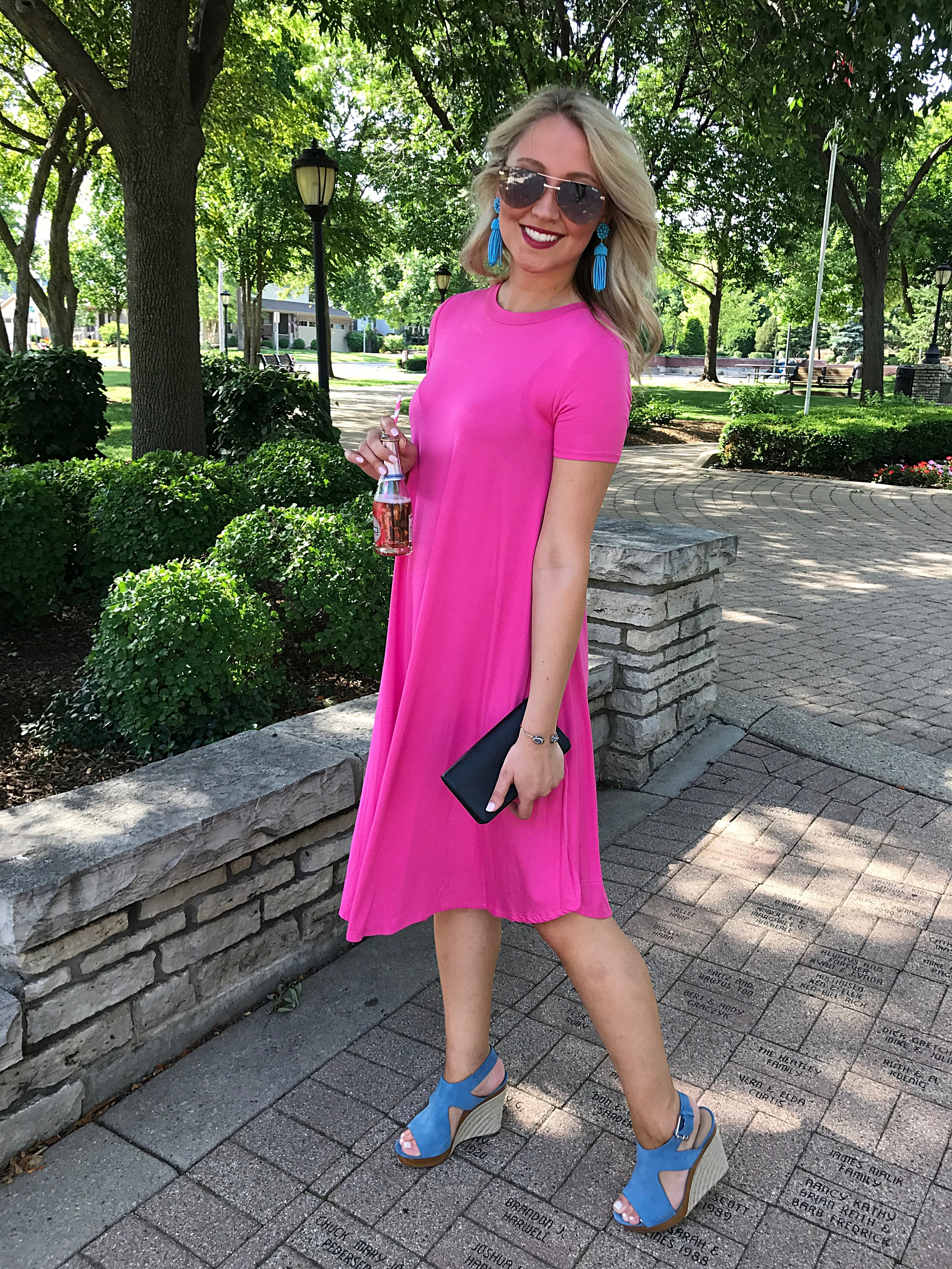 Dress C/O - Bluish & Co.   Earrings C/O Lisi Lerch Wedges C/O Michael Kors - sold out, similar here