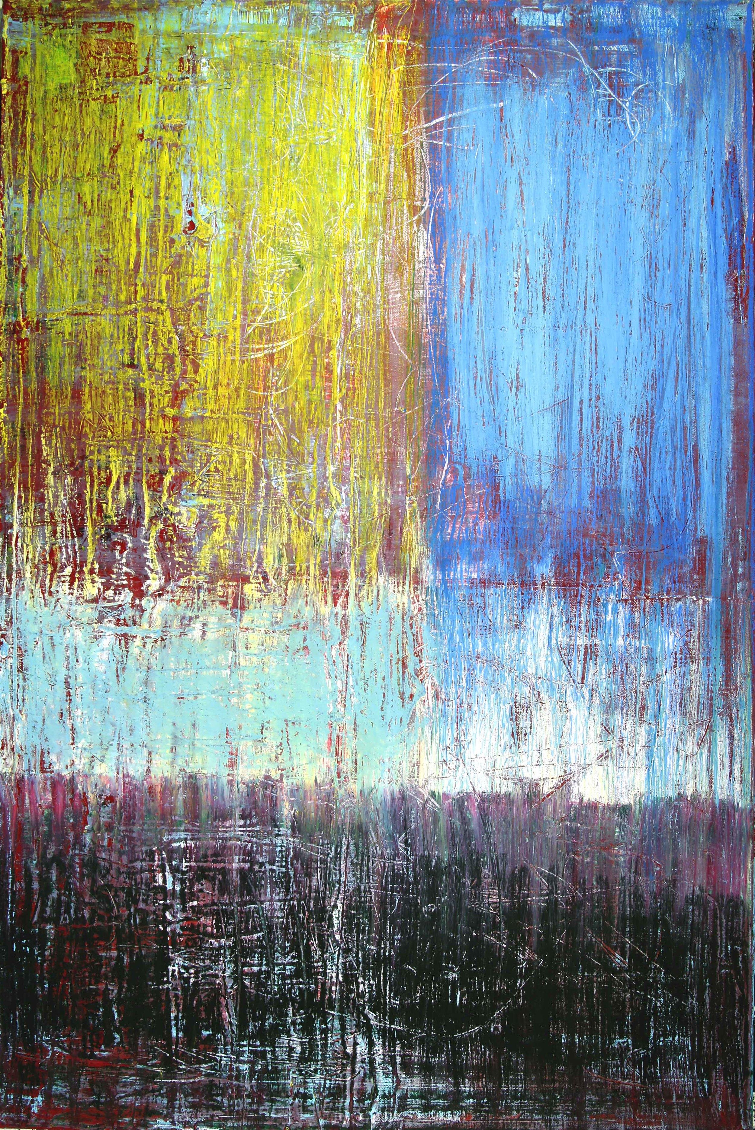 """April 2016 mixed media on canvas  36""""x24""""x.75"""""""
