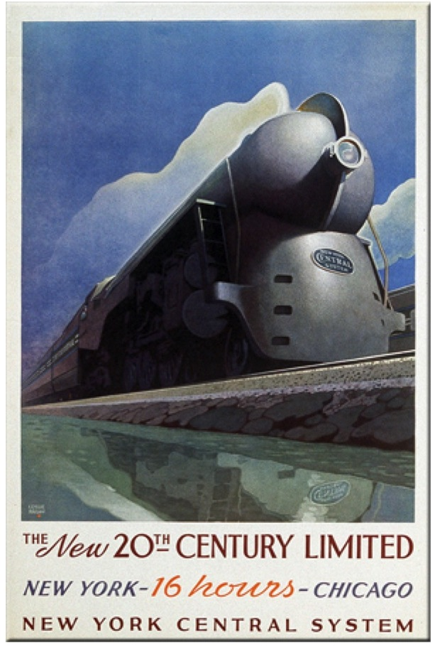 Poster for late 30s edition of the  20th Century Ltd . The re-designed late 30s model of the train inspired the art deco look of the musical. From American-Rails.com.