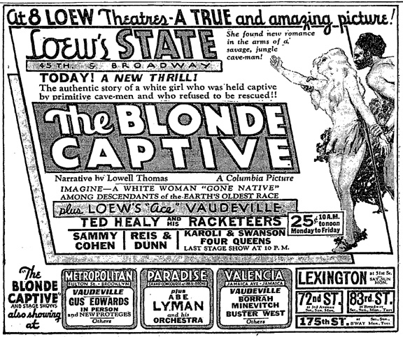 Newspaper advertisement for  The Blonde Captive  (1932).