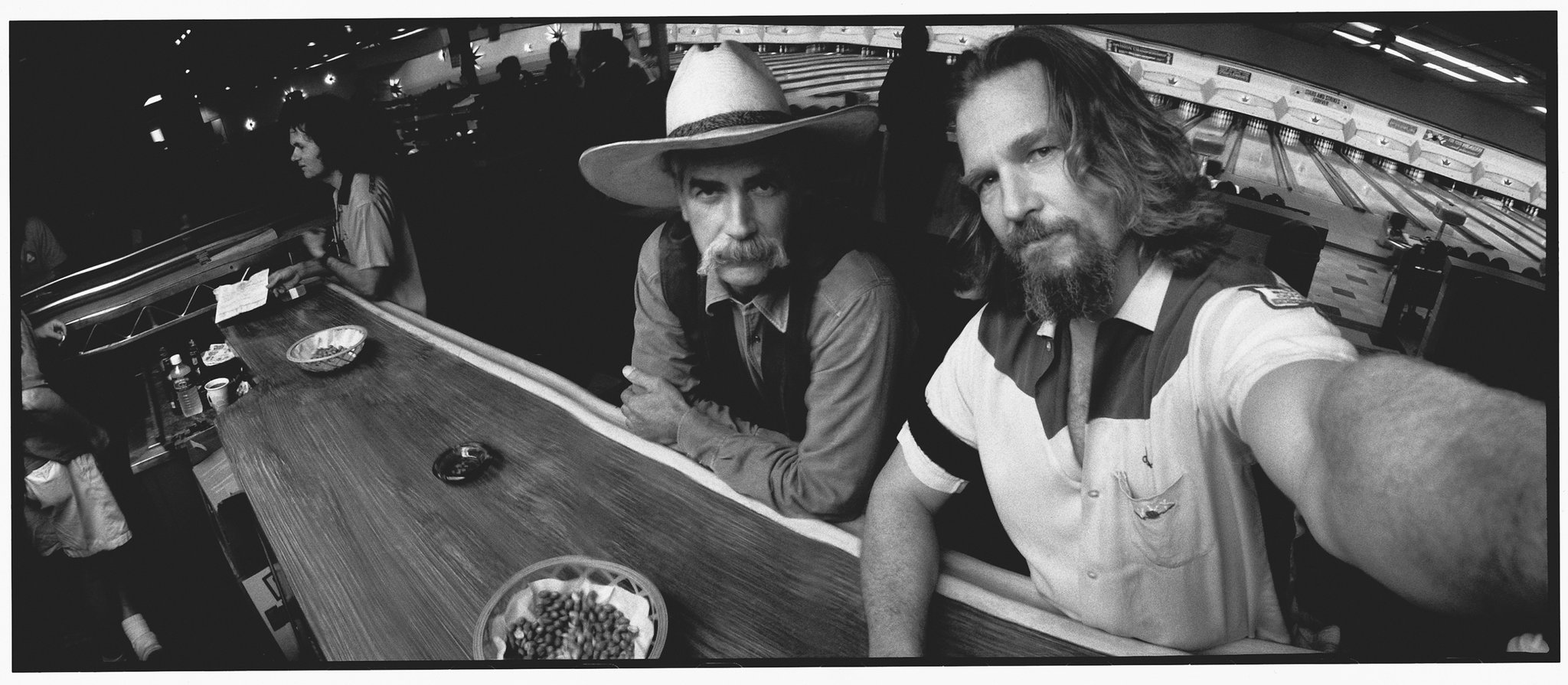 Jeff Bridges Wide-Lux self portrait with Sam Elliott during filming of  The Big Lebowski  (1998).