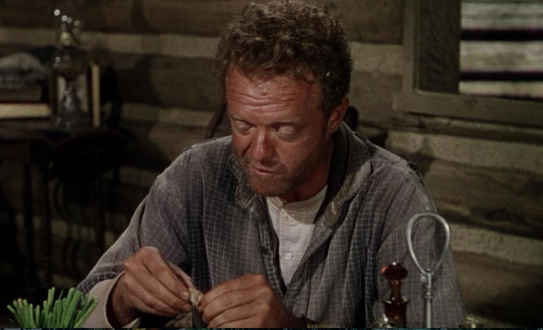 Joe Starrett (Van Heflin) at his dinner table in  Shane  (1953). Bottom left, a vase of green onions.