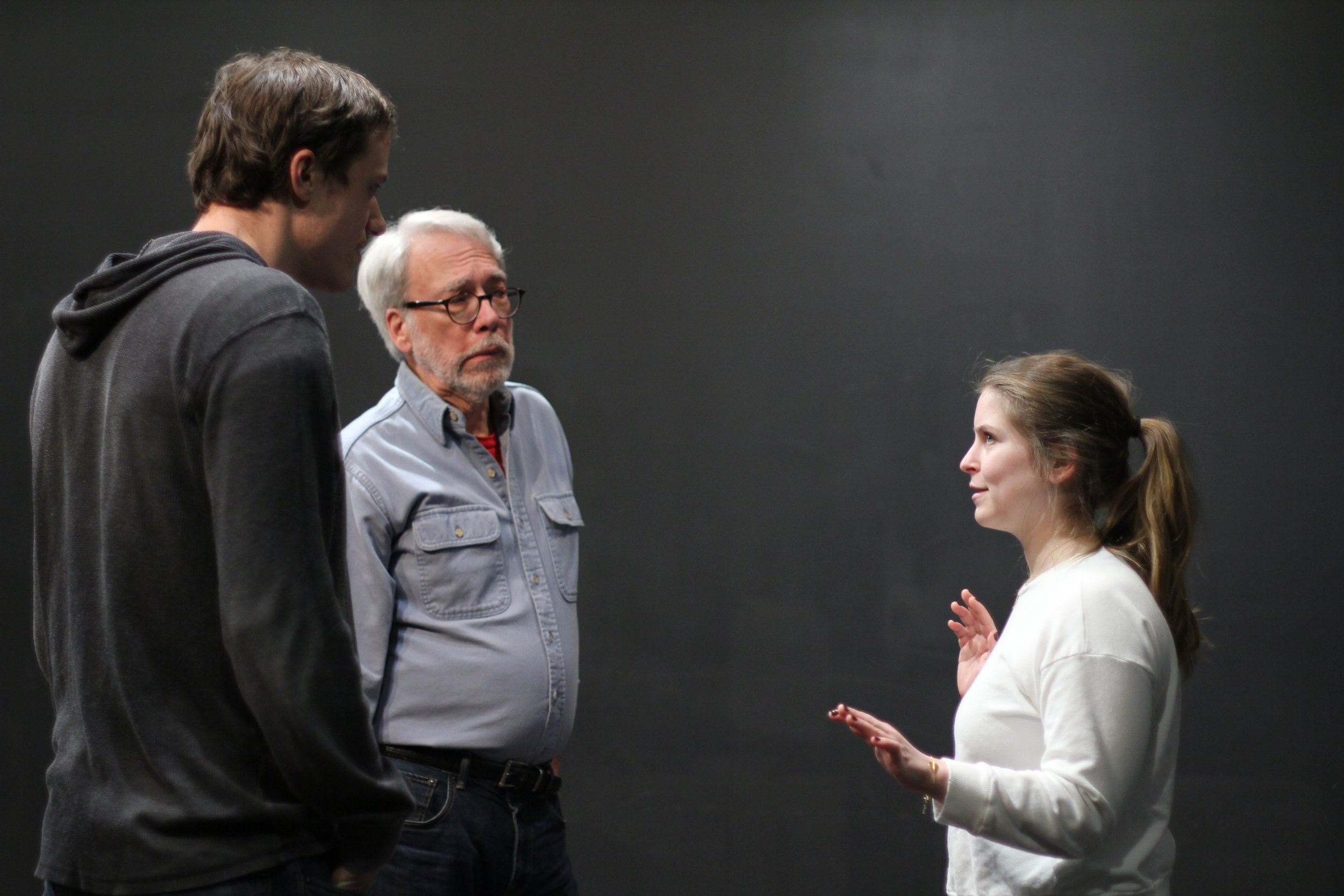 Cole von Glahn (director), Tim Kidwell (David), and Amanda Fink (Ella) puzzle through a moment in scene two.