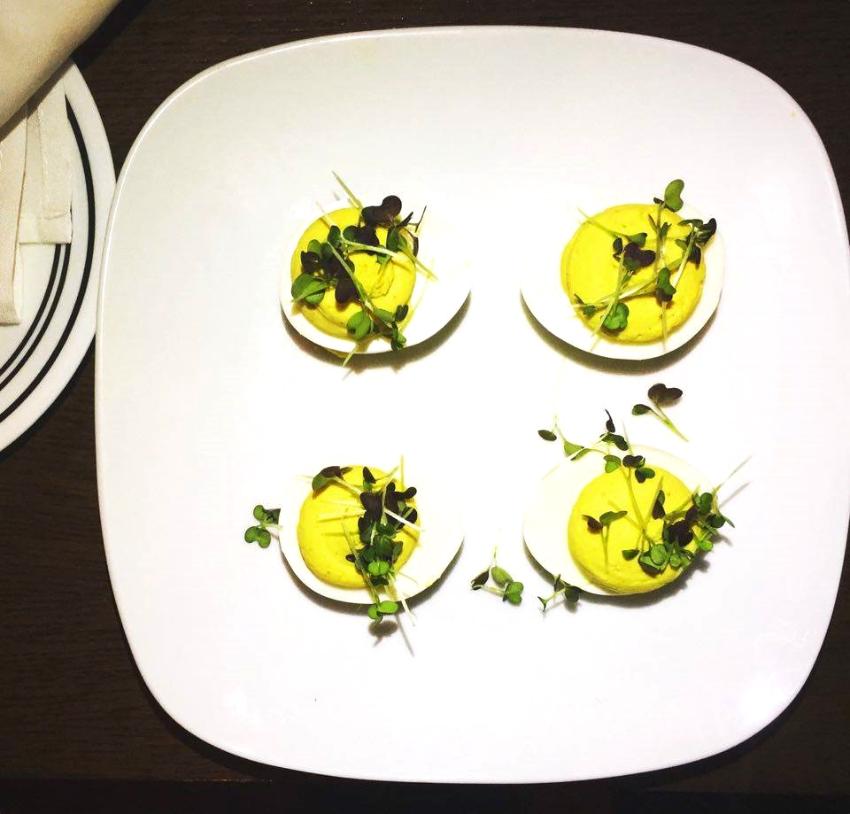 Boundary Stone Deviled Eggs with Garnet Giant Mustard Microgreens