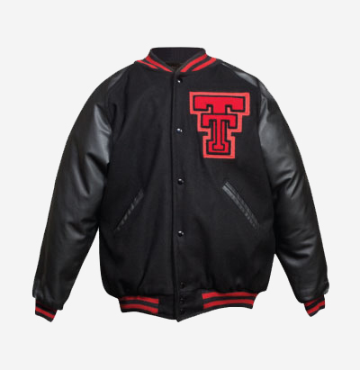 MAVERICK JACKET STYLE #LRSS     Custom Varsity Letter Jacket with Leather, Raglan Style Sleeves, Knit Collar & Satin Lining.