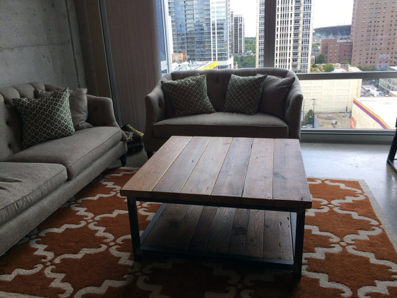 A custom two tier square coffee table for a very happy Chicago couple.