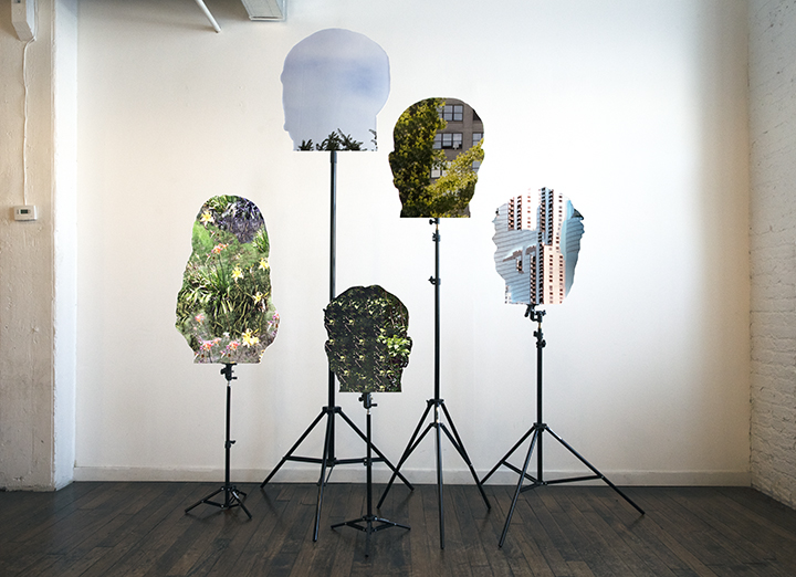 Installation at Latitude Chicago, 2019, Archival pigment prints mounted to Dibond, various aluminum lighting stands