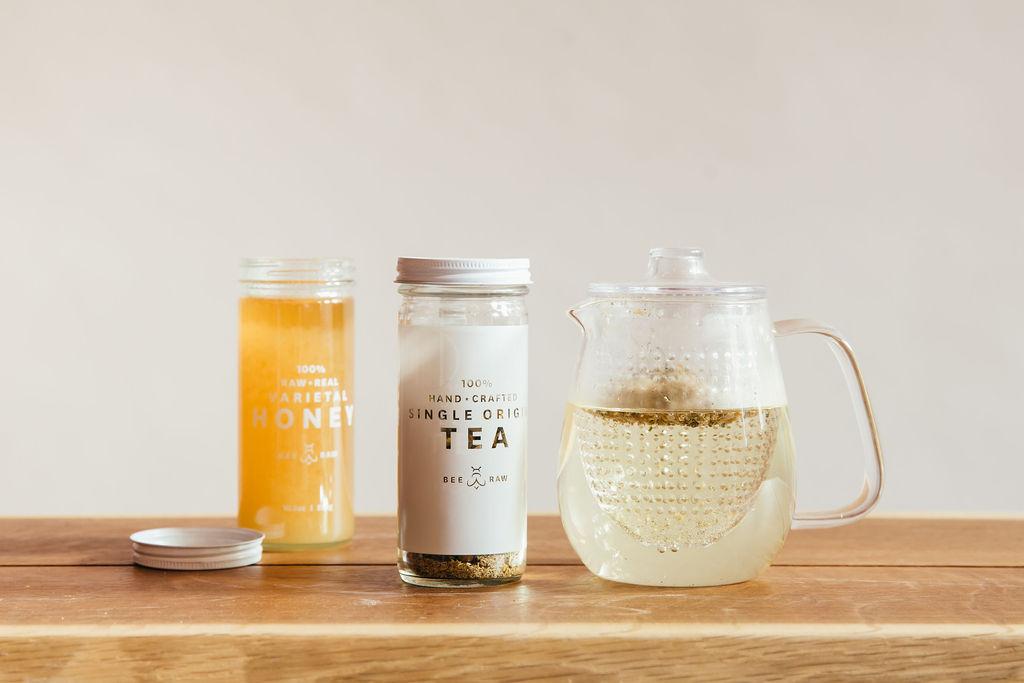 Teapot, tea, & honey