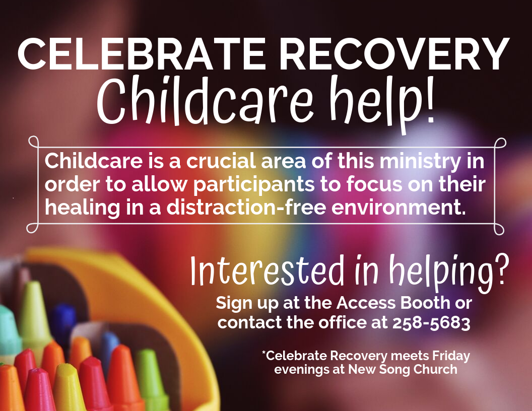 Childcare is a crucial area of this ministry in order to allow participants to focus on their healing in a distraction-free environment. If you're interested in helping, please contact us!