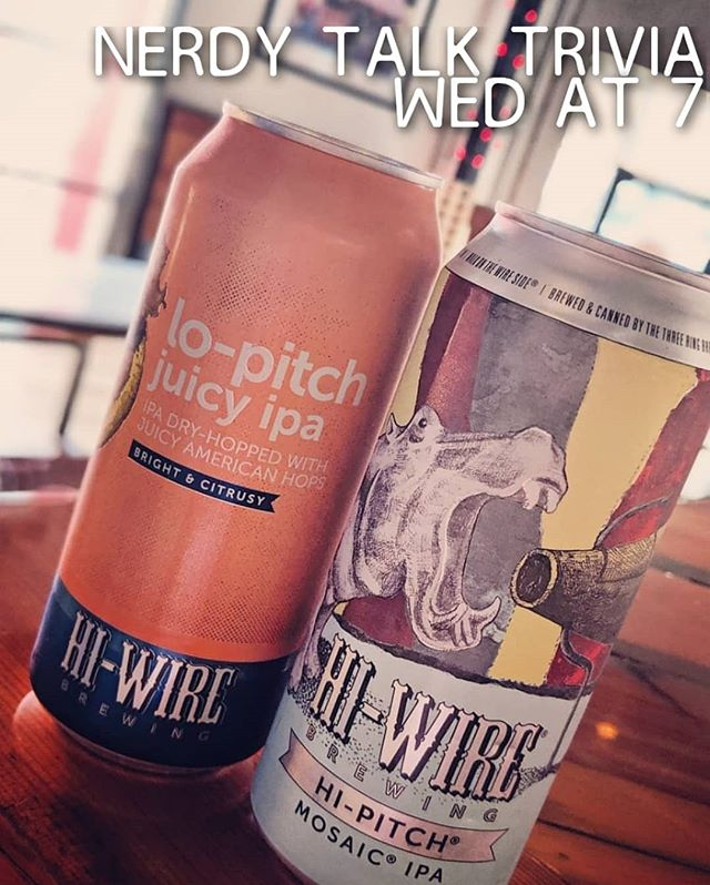 Don't miss @nerdytalktrivia tonight at 7 for @hiwirebrewing specials, food specials + your chance to win an an HB bar tab! 🍻