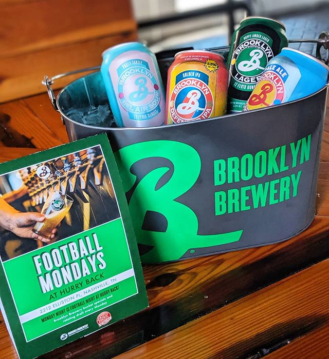 It's Football Night! Join us for @brooklynbrewery beer specials from 5-8, food specials + football on the big screen! 🏈🍻