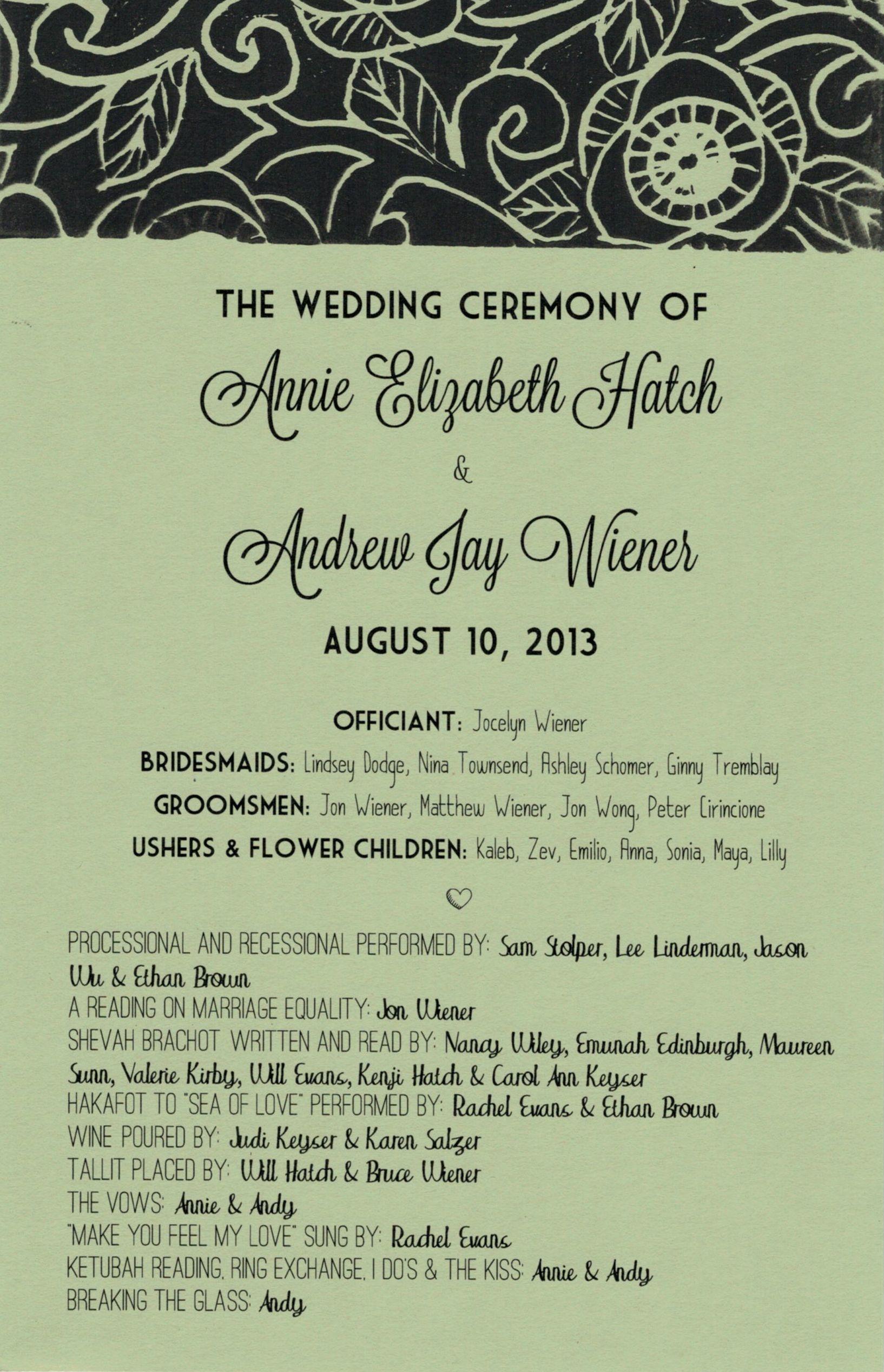 Program with block-print detail, A+A Wedding, 2013