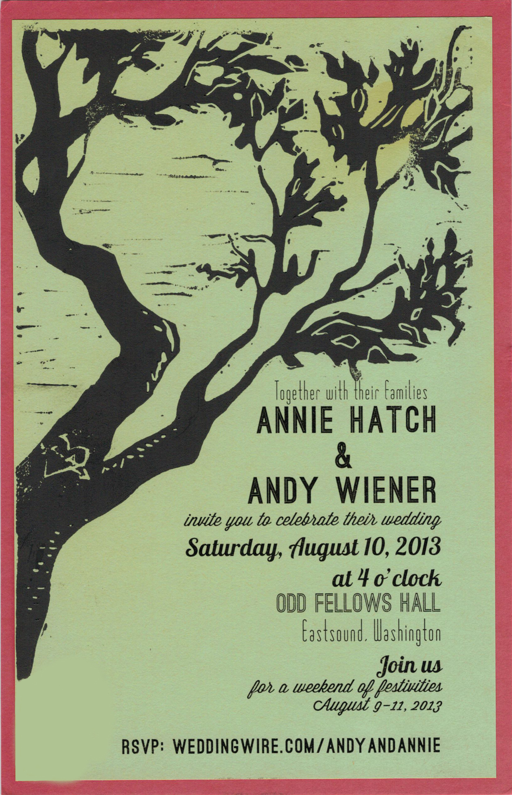 Invitation with block-print detail, A+A Wedding, 2013