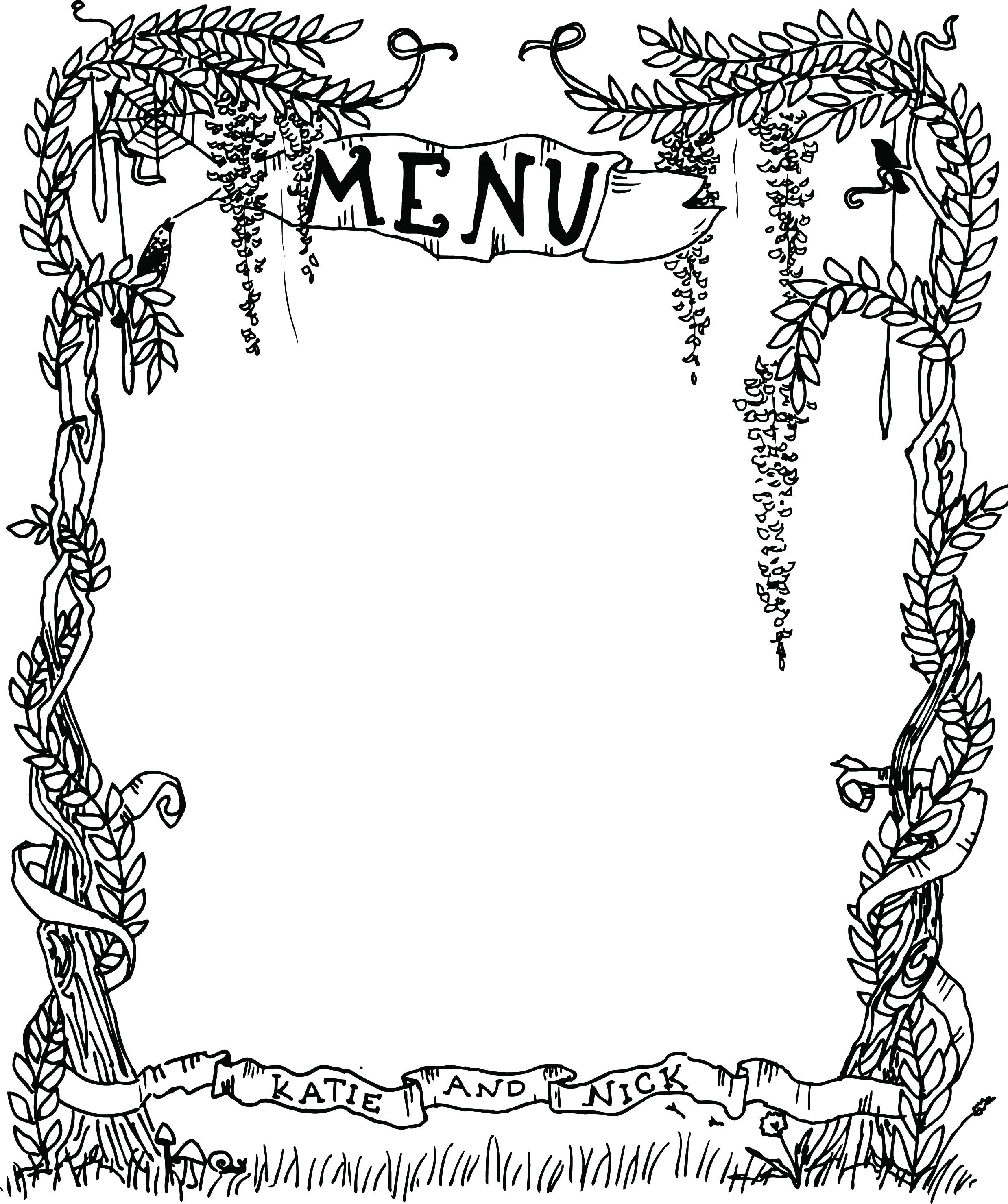 Menu Illustration for K+N Wedding (2012)