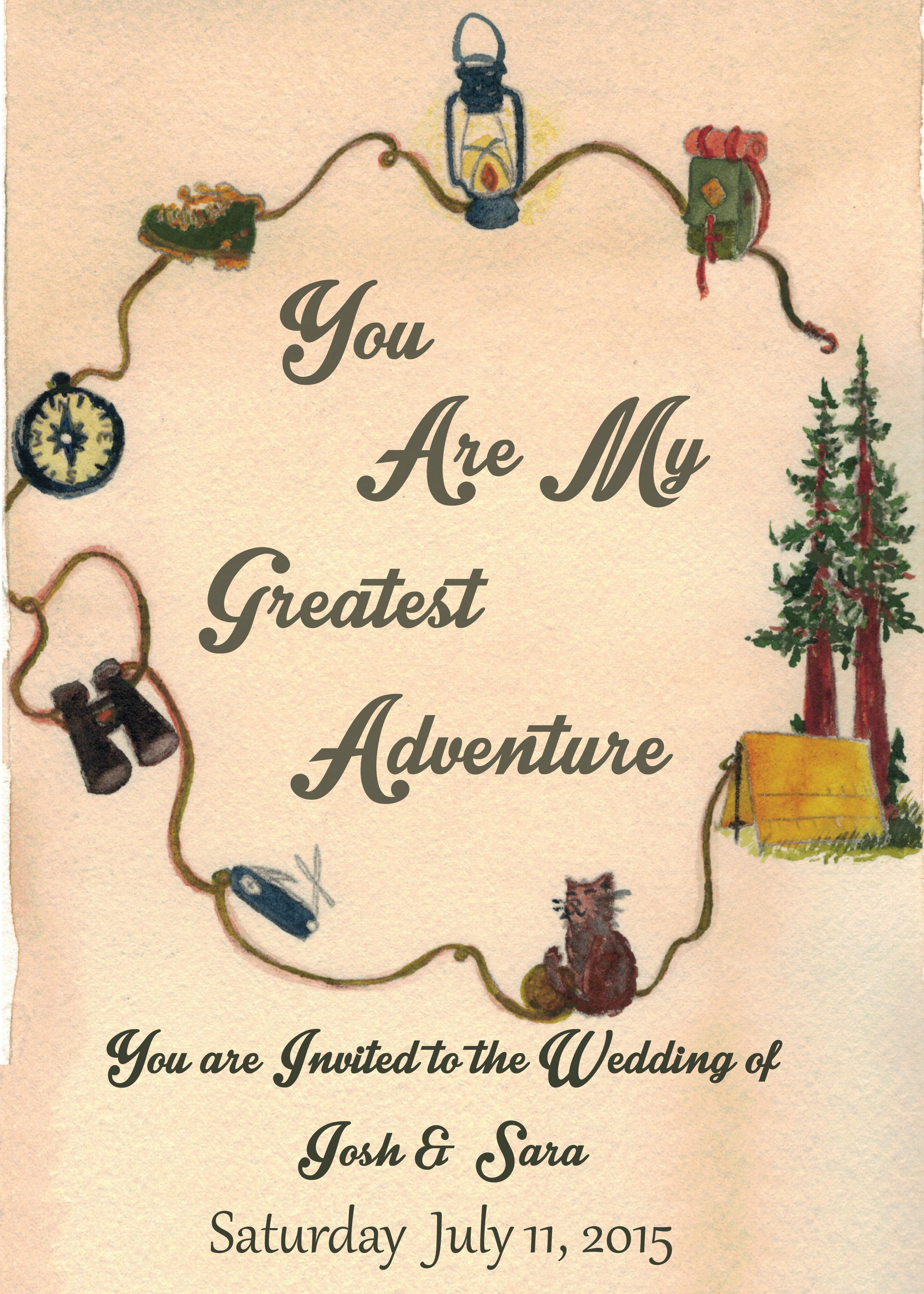Invitation, watercolor,  S+J Wedding (2015)