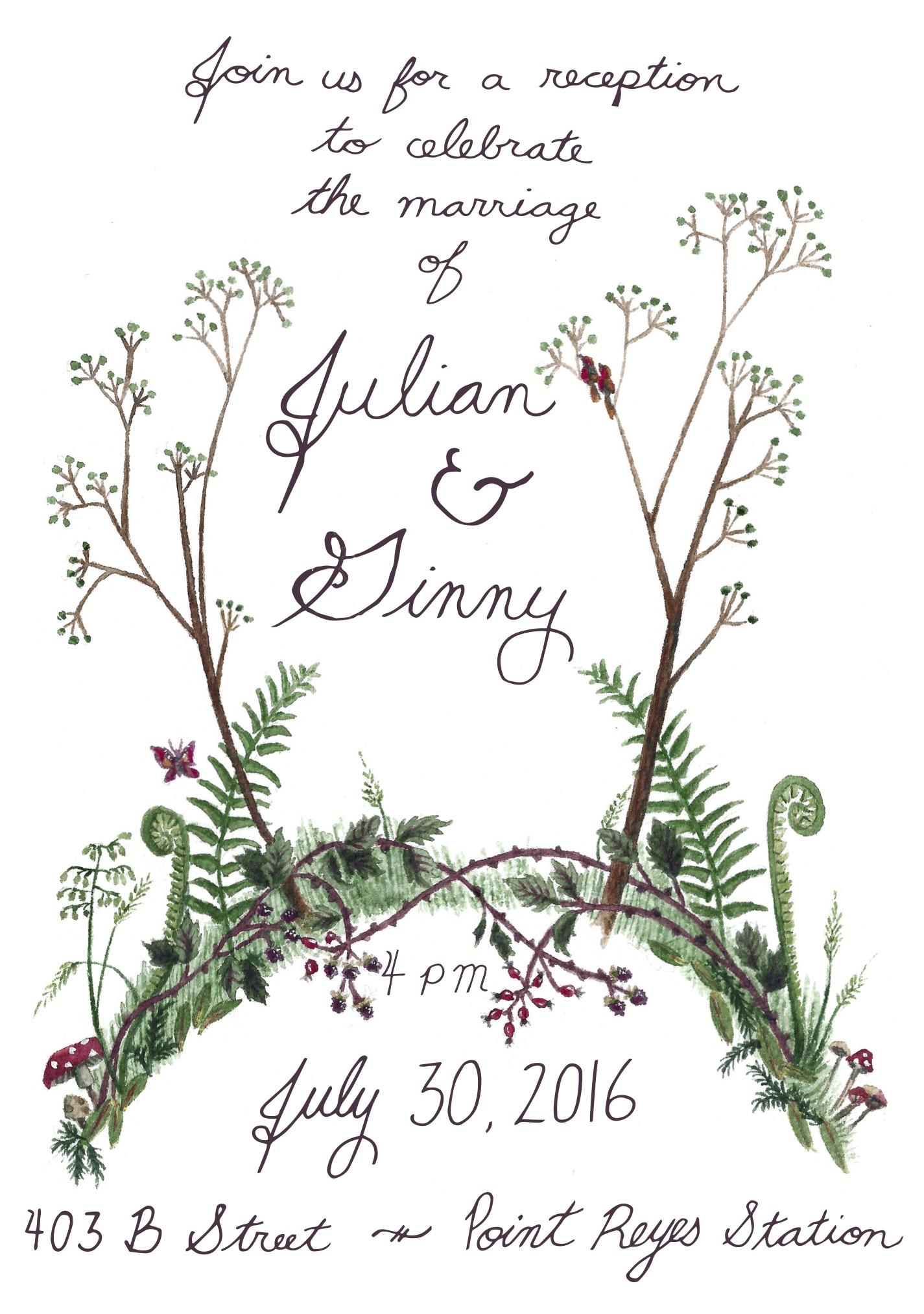 Wedding Invitation, watercolor, 2016
