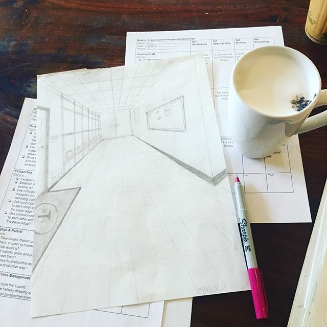 Playing hooky (?) and grading perspective drawings on a #schoolcancelled day @dellafattoria