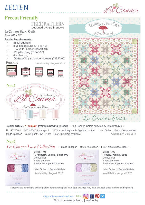 La Conner Collection by Jera Brandvig - Free Pattern, La Conner Lace Collection, Tsumugi Premium Sewing Threads, and Precuts information.
