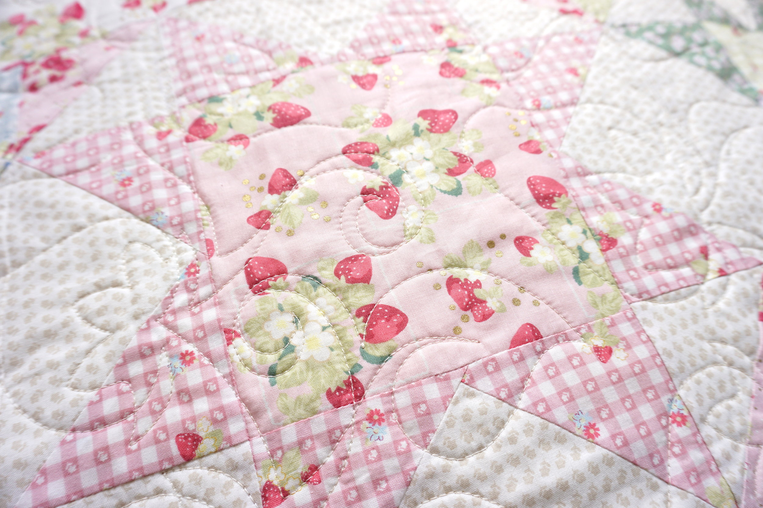 Close-up: La Conner Stars Quilt designed by Jera Brandvig of Quilting in The Rain for Lecien Fabrics