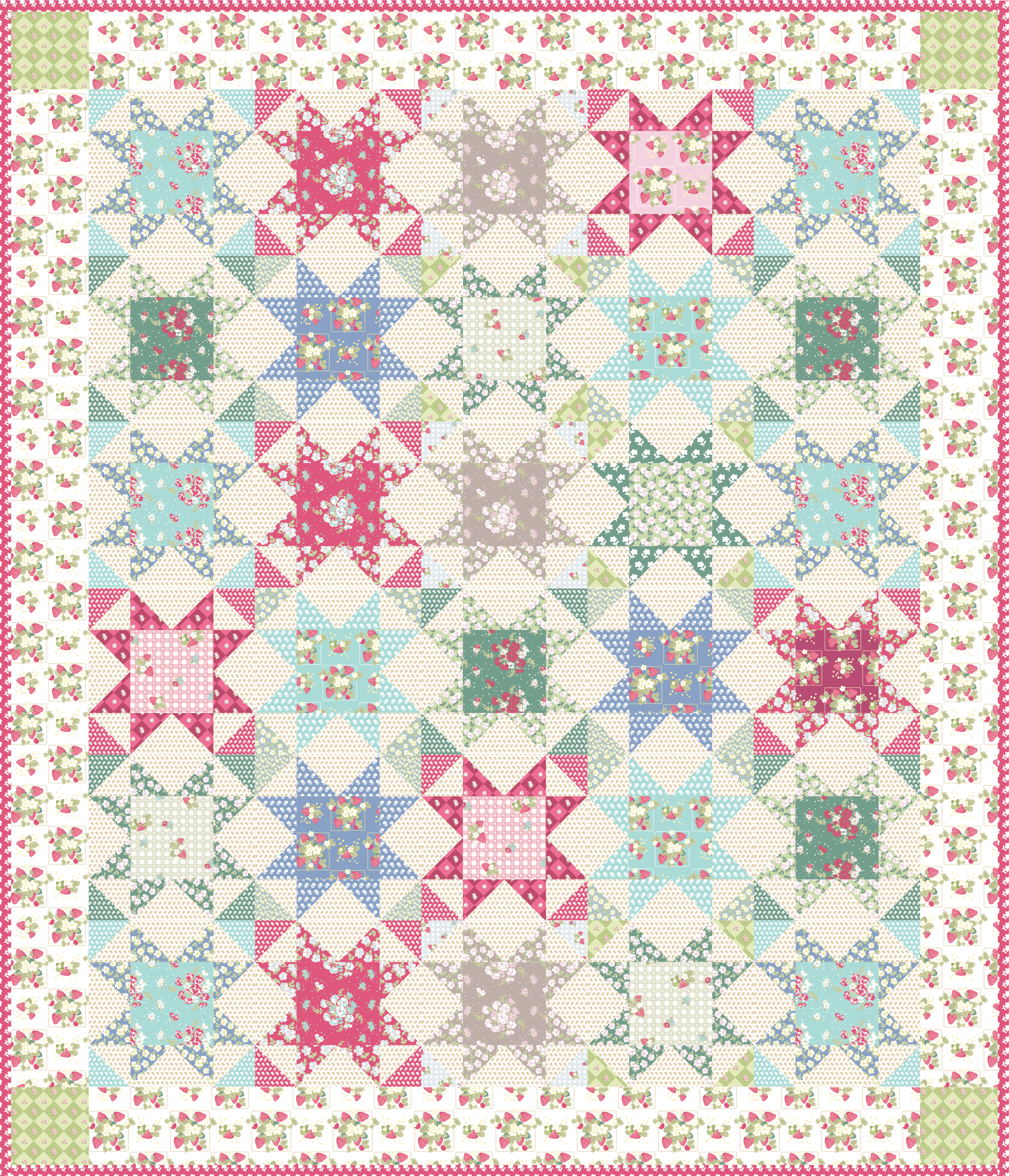 La Conner Stars Quilt designed by Jera Brandvig of Quilting in The Rain for Lecien Fabrics