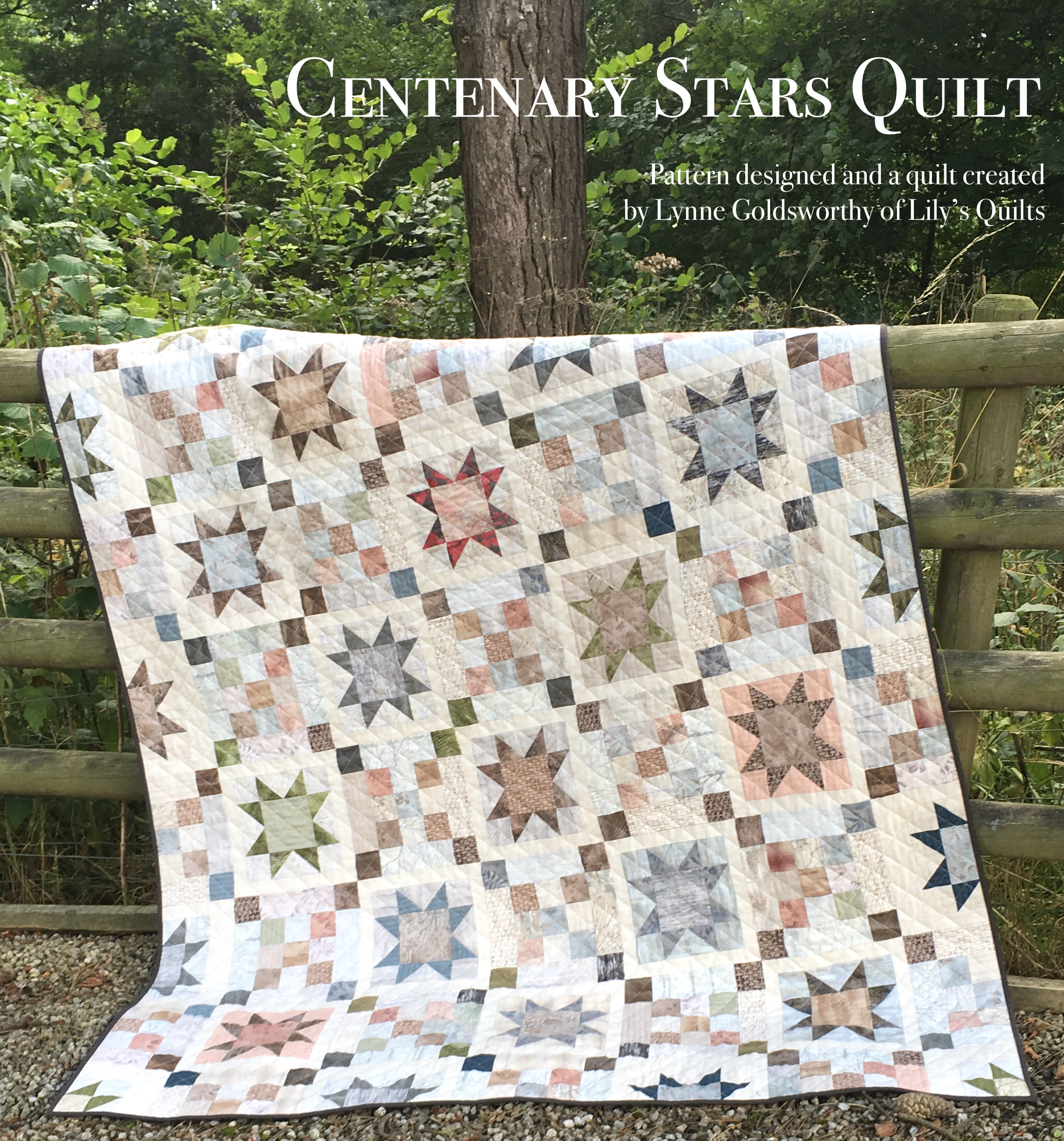 "FREE Pattern ""Centenary Stars Quilt"" designed by Lynne Goldsworthy for Lecien. Details of pattern information will be coming in the next blog post, so stay tuned."