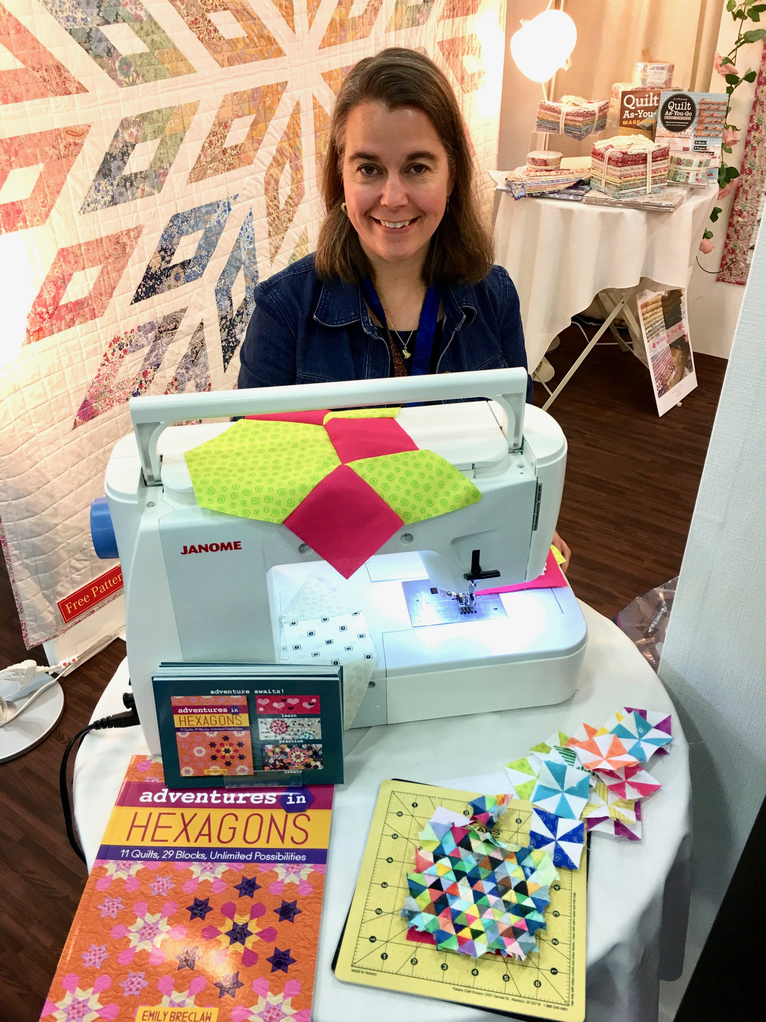 Emily was having a demonstration at Spring Quilt Market in 2018