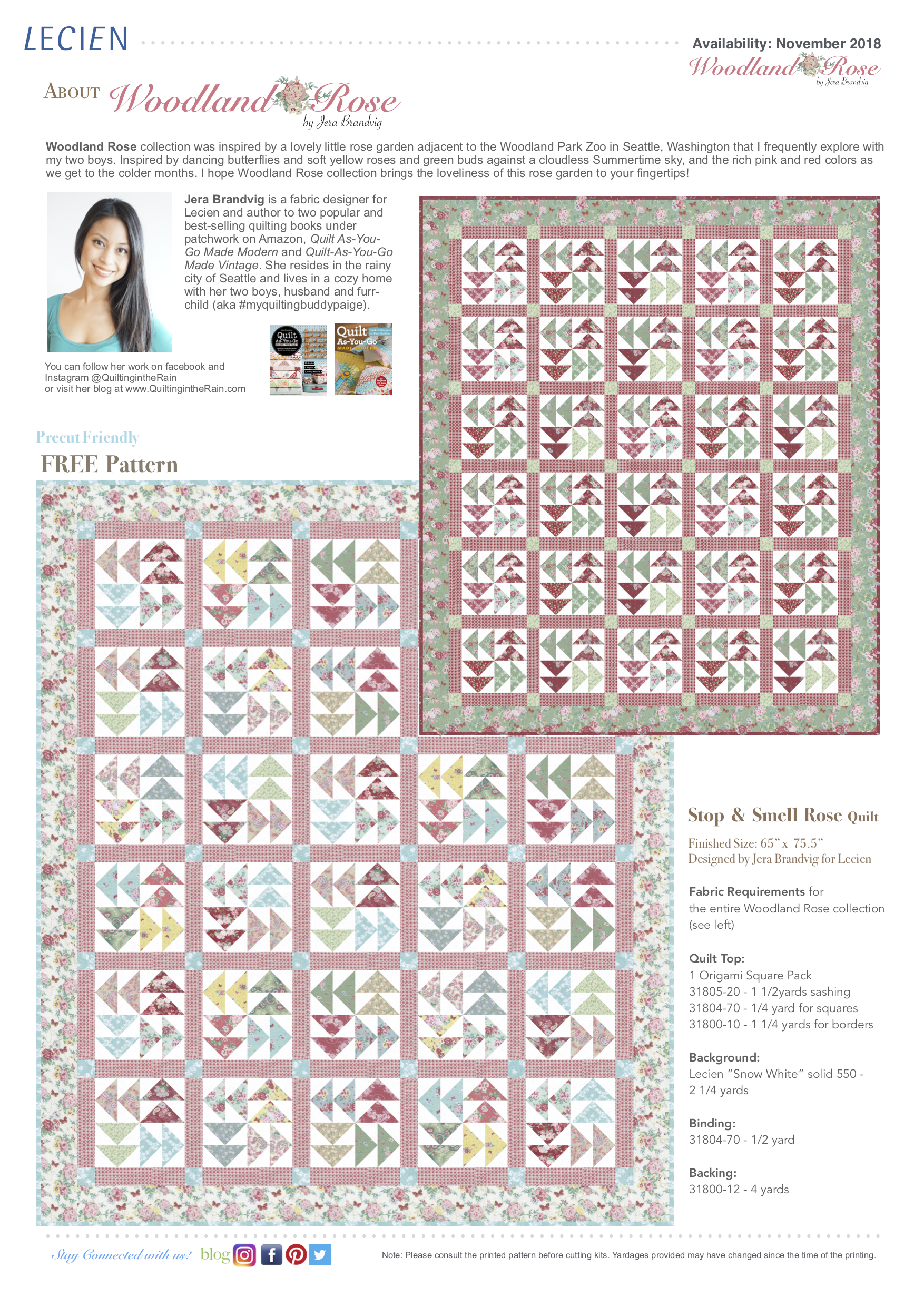 Stop & Smell Rose Quilt - featuring Woodland Rose Collection by Jera Brandvig