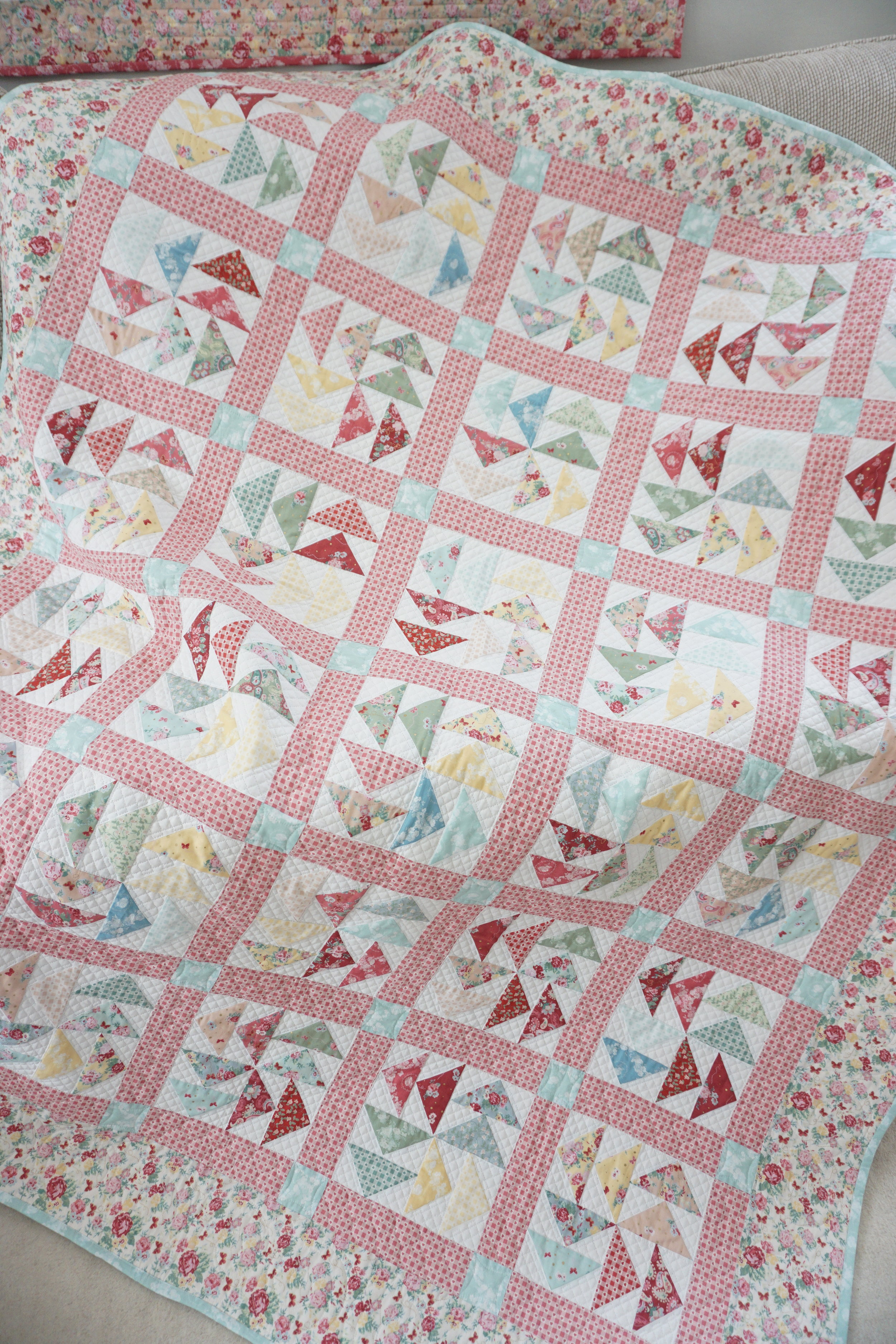 """Stop & Smell Rose Quilt -featuring Woodland Rose Collection"" designed and created by Jera Brandvig, quilted by Charlene Trieloff of  The Cotton Farm"