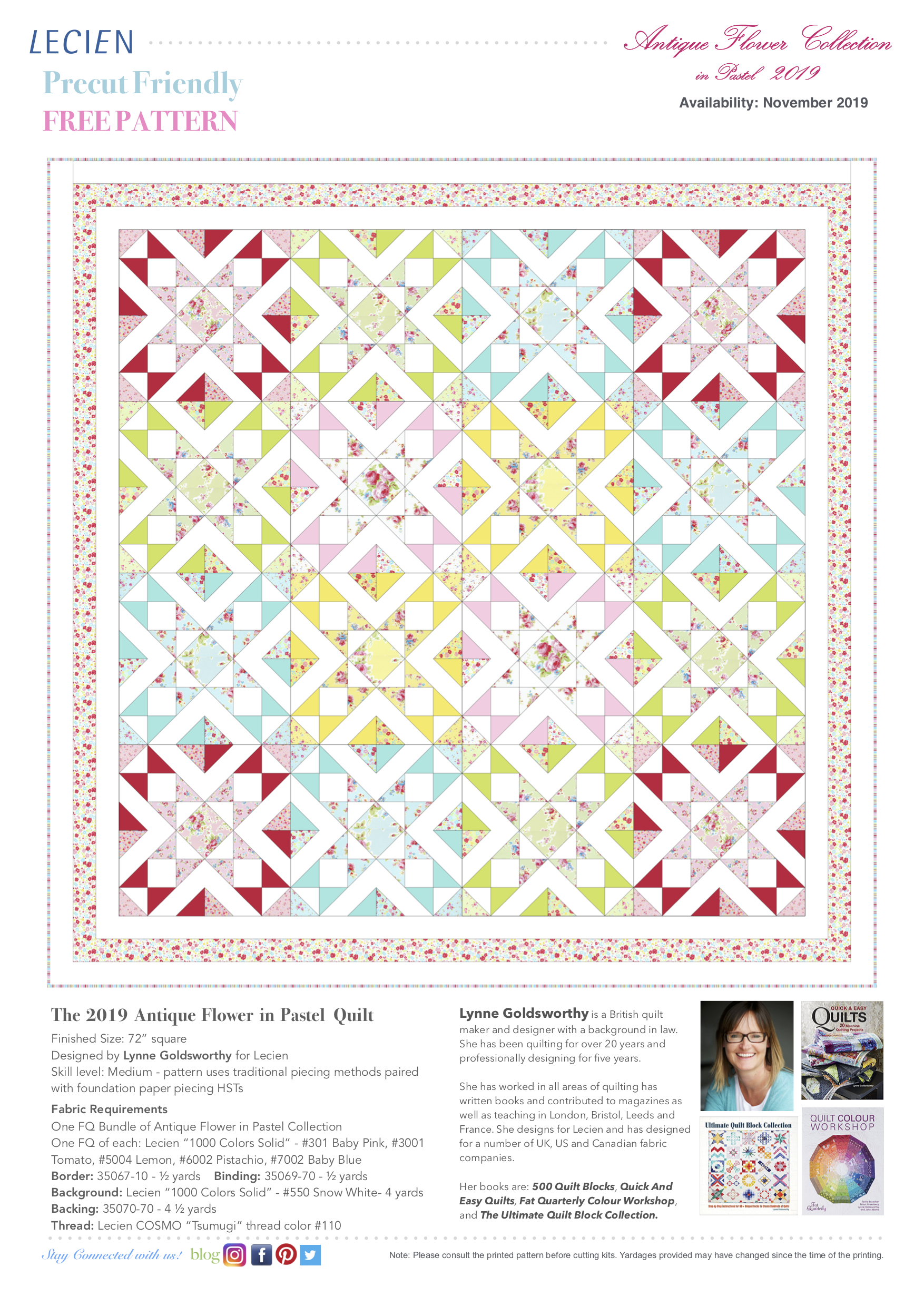 The 2019 Antique Flower in Pastel Quilt