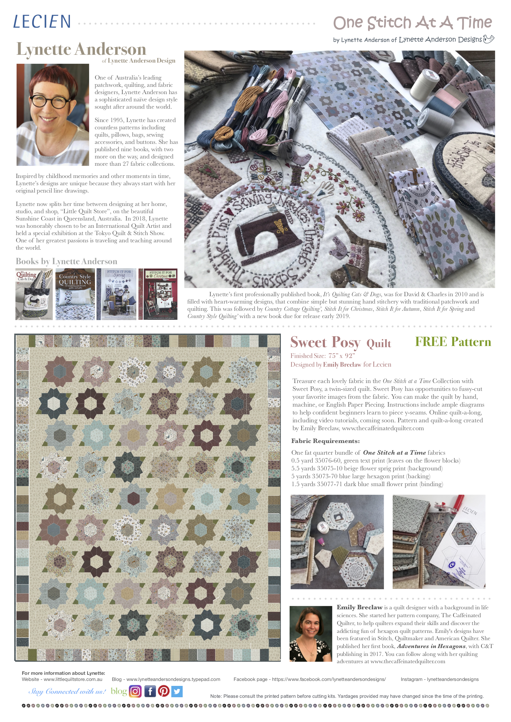 Sweet Posy Quilt featuring One Stitch at A Time