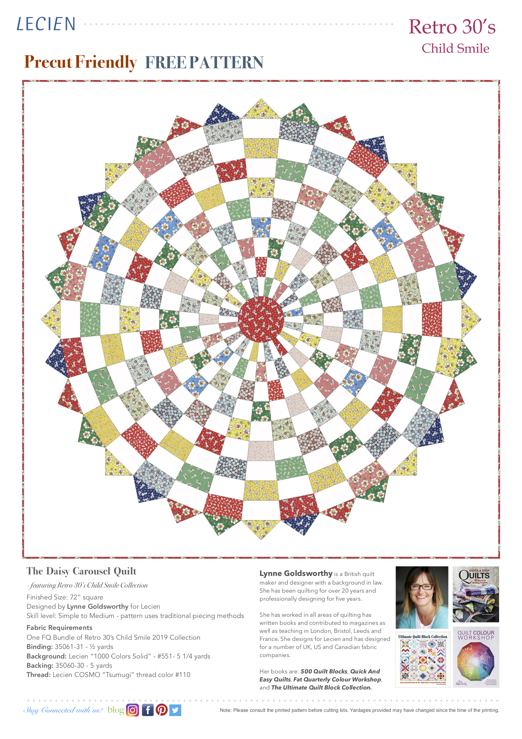 The Daisy Carousel Quilt featuring Retro 30's Child Smile Collection