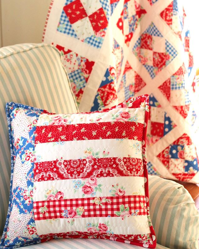"❤️🇺🇸💙 Thank you! ❤️🇺🇸💙 Remembering our beautiful friend and very talented quilter Renee Lange. We miss her very much. We are sharing these special patriot quilt and pillow made by one of the Flower Sugar World Ambassadors, Renee @sewnwithgrace!! The quilt pattern is ""Just Pruned"" by Brenda Ratliff of @justabitfrayed and @pinkcastlefabrics. The pillow pattern is in the Summer 2015 issue of Easy Quilts. She used one of her favorite fabric lines, Flower Sugar. Renee made so many beautiful quilts, and we had such a blessing to work with her on many occasions! Please see the ISSUU featured many of her works, they are truly beautiful: https://issuu.com/lecien/docs/issue_no9_flower_sugar_world_ambass  Thank you Renee ❤️❤️❤️ #Sewnwithgrace #JustPrunedQuilt #Patriotquilt #patriotpillow #lecien #lecien_fabrics #lecienfabrics #flowersugar #FlowerSugarWorldAmbassadors"