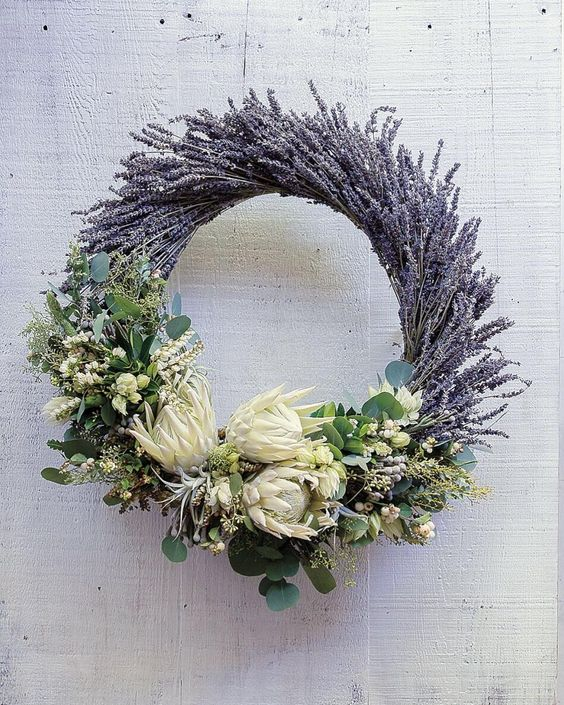 Wreath with Dried Lavender and Protea.  Photo from @sunsetmag Instagram.